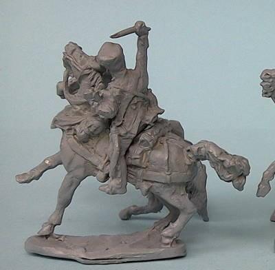Preußischer Train-Soldat auf scheuendem Pferde (1813 - 1815)
