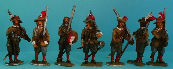 1618 - 1648: Musketiere (die Muskete geschultert)