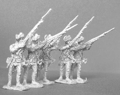 1740 - 1763 : Preußische Musketiere (die Muskete in Bereitschaft haltend)