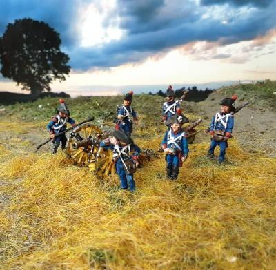 1805 - 1808: Französische Fußartillerie - Geschütz-Bedienung inkl. Kanone