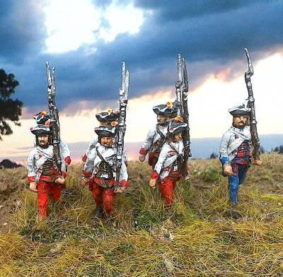 1740 - 1763: Österreich Ungarische Füsiliere (marschierend)
