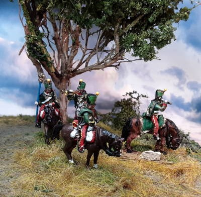 1813 - 1815: Französische Husaren (mit Shako Rouleau) inkl. Command Set