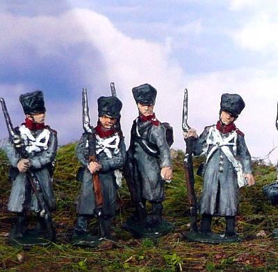 1813 - 1815: Preußische Mannschaften im Mantel (abwartend)