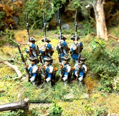 Französische Linieninfanterie in Feuerbereitschaft (1754 - 1763)