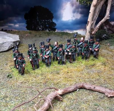 1813 - 1815: Preußische Jäger (das Gewehr abgesetzt)