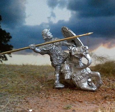 Römischer Auxiliar-Kavallerist (auf einem verwundeten Pferd (1 - 2 AD)