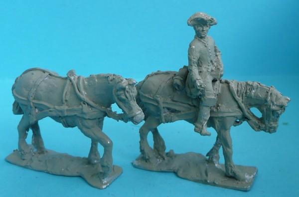 Preußischer Fuhrknecht und Zugpferde